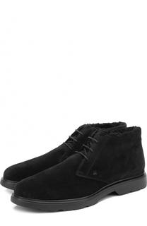 Замшевые ботинки на шнуровке с внутренней меховой отделкой Hogan