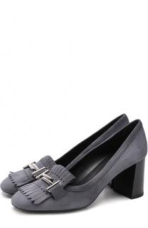 Замшевые туфли с пряжкой и бахромой Tod's Tods