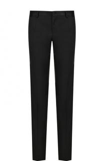 Шерстяные брюки прямого кроя с шелковой отделкой Dolce & Gabbana