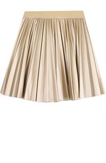 Плиссированная юбка с металлизированной отделкой Monnalisa