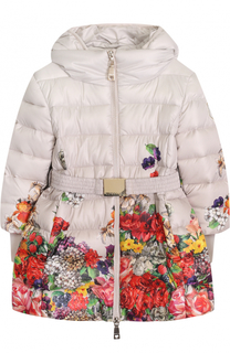 Пуховое пальто с принтом и капюшоном Monnalisa