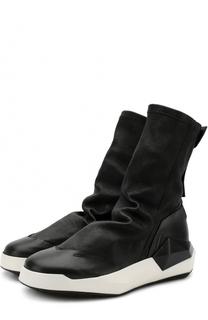 Высокие кожаные кеды без шнуровки Cinzia Araia