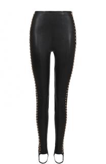 Кожаные брюки-скинни со штрипками Balmain