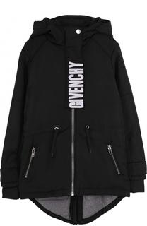 Парка с капюшоном и логотипом бренда Givenchy