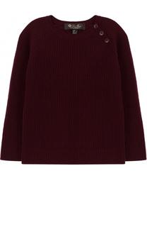 Кашемировый пуловер фактурной вязки с декоративными пуговицами Loro Piana