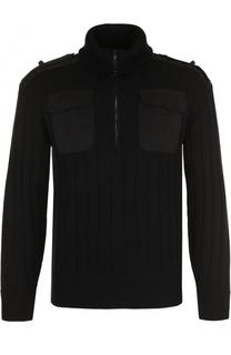 Шерстяной свитер фактурной вязки с воротником на молнии Neil Barrett