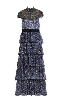 Шелковое многоярусное платье с кружевным лифом Alice + Olivia