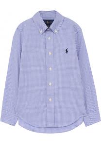 Хлопковая рубашка с принтом и воротником button down Polo Ralph Lauren
