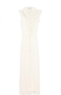 Кружевное платье-макси с оборками Lanvin