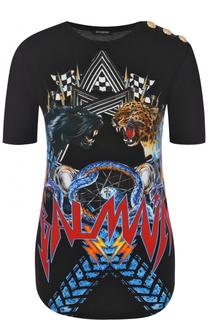 Хлопковая приталенная футболка с принтом Balmain