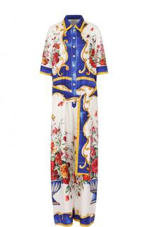 Шелковый комбинезон с принтом и поясом Dolce & Gabbana