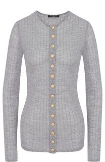 Приталенный шерстяной пуловер с круглым вырезом Balmain