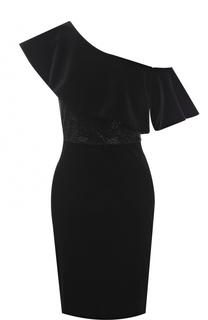 Бархатное платье с оборкой и стразами Armani Collezioni