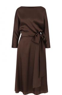 Приталенное шелковое платье-миди с поясом Alexander Terekhov