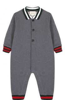 Хлопковая пижама с контрастной отделкой Gucci