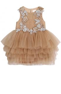 Многослойное платье с цветочной аппликацией и бисером Mischka Aoki
