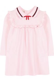 Хлопковое платье с оборкой и контрастной отделкой Gucci