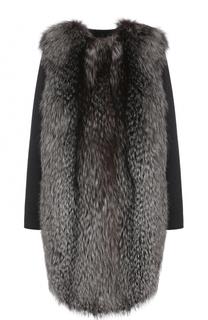 Пальто из смеси шерсти и кашемира и отделкой из меха лисы Yves Salomon