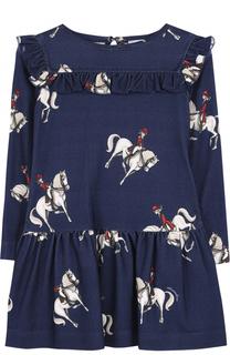 Мини-платье с принтом и оборкой Monnalisa