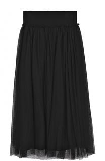 Многослойная юбка-миди с широким поясом Monnalisa