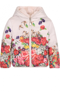 Пуховая куртка с принтом и капюшоном Monnalisa