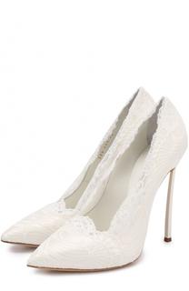 Атласные туфли с кружевной отделкой на шпильке Blade Casadei