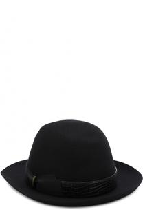 Фетровая шляпа с кожаной отделкой Borsalino
