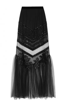 Прозрачная юбка-макси с вышивкой La Perla