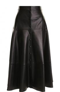 Однотонная кожаная юбка-миди Michael Kors