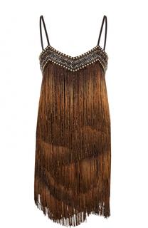 Мини-платье с бахромой и шнуровкой Balmain