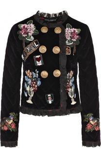 Двубортный бархатный жакет с нашивками Dolce & Gabbana