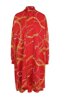 Шелковое платье свободного кроя с принтом Balenciaga