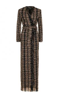 Удлиненное буклированное пальто с поясом Balmain