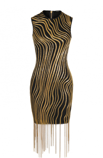 Платье-футляр с вышивкой бисером и бахромой Balmain