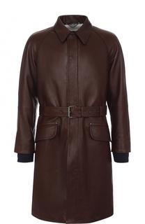 Однобортное кожаное пальто с меховой подкладкой Lanvin