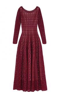 Приталенное вязаное платье-миди с длинным рукавом Alaia