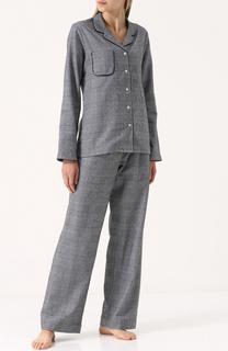 Хлопковая пижама с принтом гусиная лапка Derek Rose
