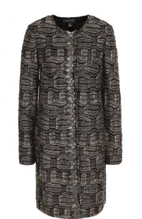 Буклированное пальто прямого кроя с круглым вырезом St. John