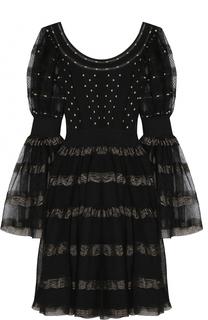 Приталенное мини-платье с круглым вырезом Alexander McQueen