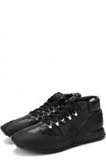 Кожаные кроссовки на шнуровке с внутренней меховой отделкой Officine Creative