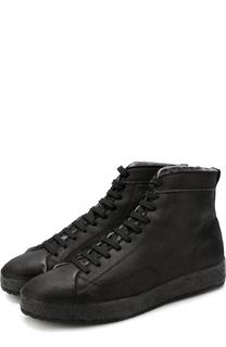 Высокие кожаные кеды на шнуровке с внутренней меховой отделкой Officine Creative