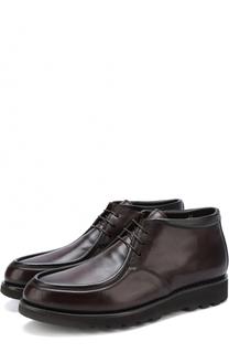 Кожаные ботинки на шнуровке с внутренней меховой отделкой W.Gibbs