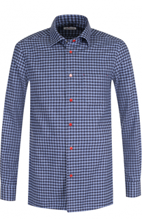 Хлопковая рубашка в клетку на кнопках Kiton