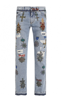 Джинсы прямого кроя с принтом и потертостями Dolce & Gabbana