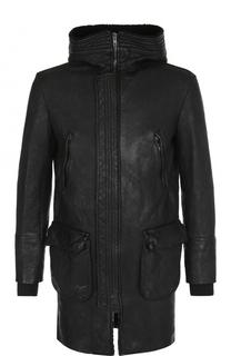 Кожаное пальто на молнии с капюшоном Salvatore Santoro