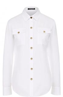 Хлопковая блуза прямого кроя Balmain