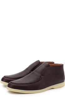 Кожаные ботинки без шнуровки Loro Piana