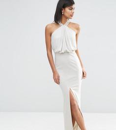 Декорированное платье макси с драпировкой спереди ASOS TALL - Серый