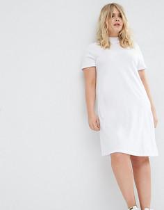 Платье-футболка с высокой горловиной ASOS CURVE - Белый