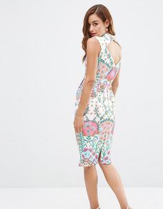 Платье с броским симметричным принтом ASOS PETITE - Мульти
